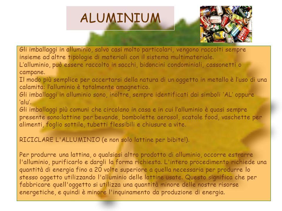 ALUMINIUM Gli imballaggi in alluminio, salvo casi molto particolari, vengono raccolti sempre insieme ad altre tipologie di materiali con il sistema mu