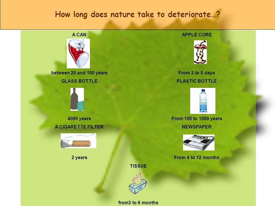 How long does nature take to deteriorate…? A CANAPPLE CORE between 20 and 100 yearsFrom 3 to 5 days GLASS BOTTLEPLASTIC BOTTLE 4000 yearsFrom 100 to 1