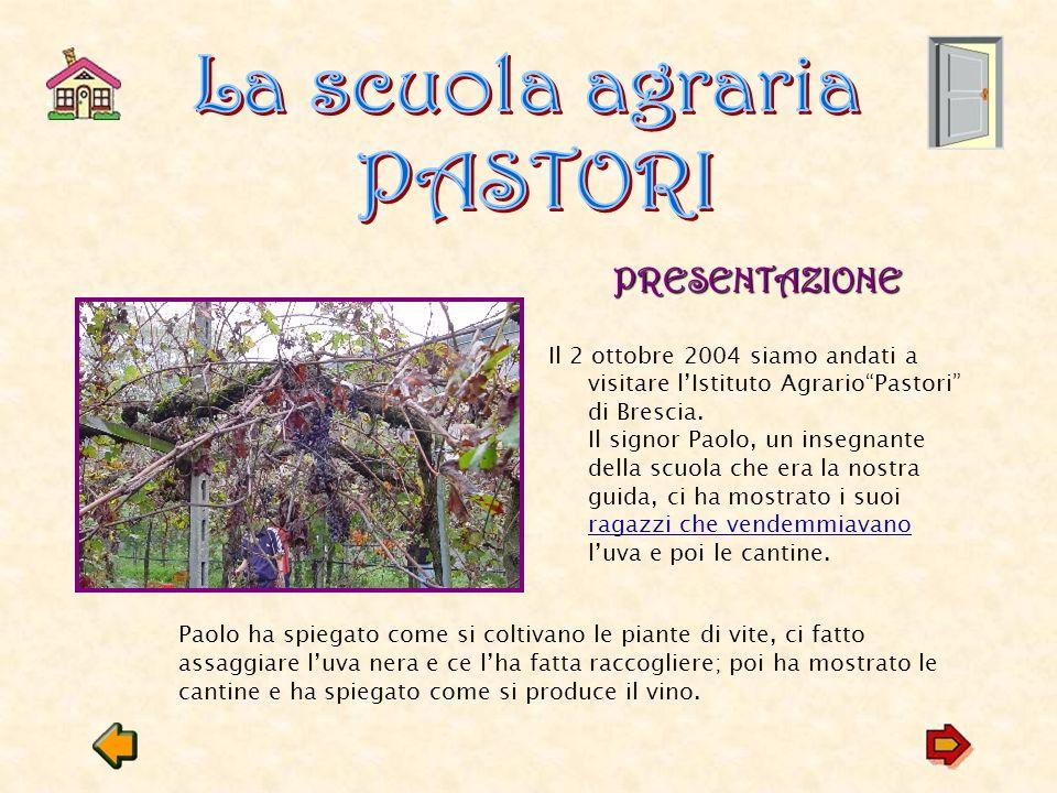 PRESENTAZIONE Il 2 ottobre 2004 siamo andati a visitare lIstituto AgrarioPastori di Brescia.