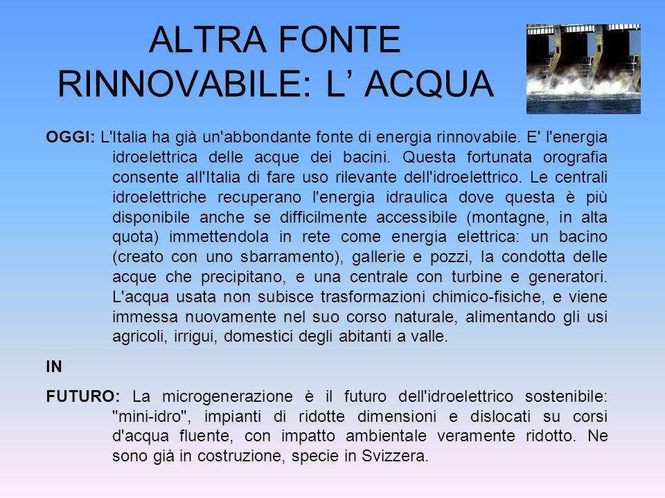 ALTRA FONTE RINNOVABILE: L ACQUA OGGI: L'Italia ha già un'abbondante fonte di energia rinnovabile. E' l'energia idroelettrica delle acque dei bacini.