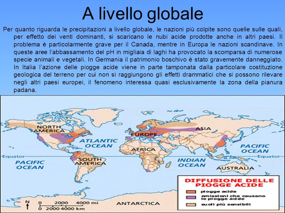 A livello globale Per quanto riguarda le precipitazioni a livello globale, le nazioni più colpite sono quelle sulle quali, per effetto dei venti domin