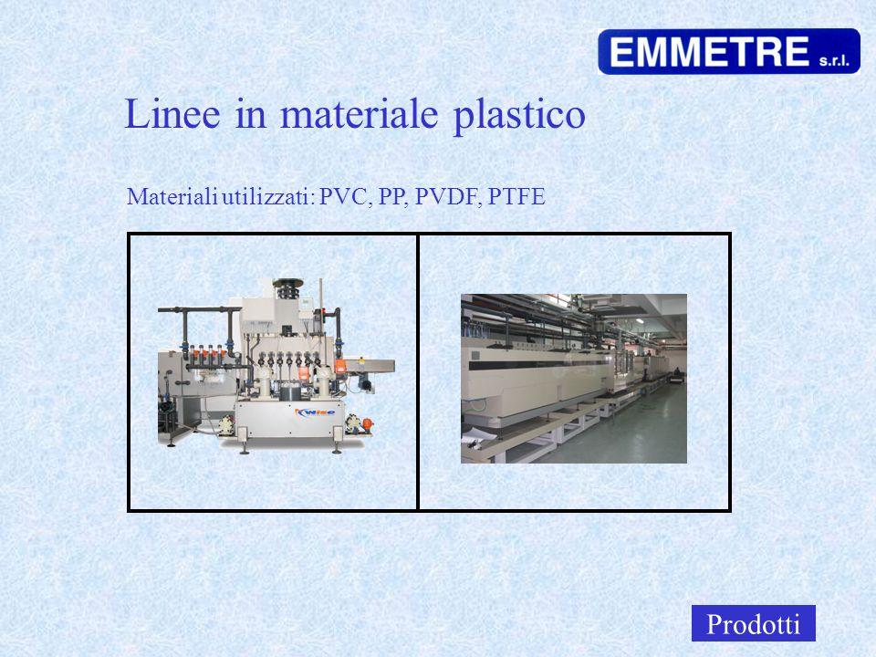 Linee in materiale plastico Prodotti Materiali utilizzati: PVC, PP, PVDF, PTFE