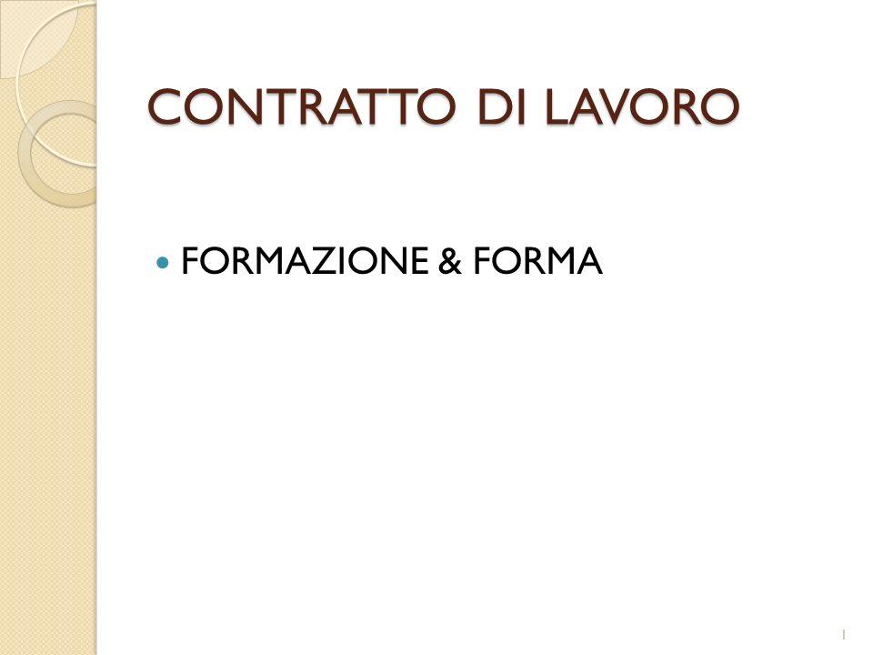 CONTRATTO DI LAVORO FORMAZIONE & FORMA 1