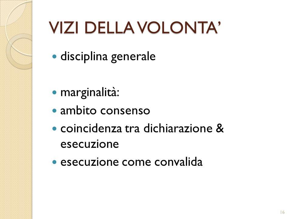 VIZI DELLA VOLONTA disciplina generale marginalità: ambito consenso coincidenza tra dichiarazione & esecuzione esecuzione come convalida 16