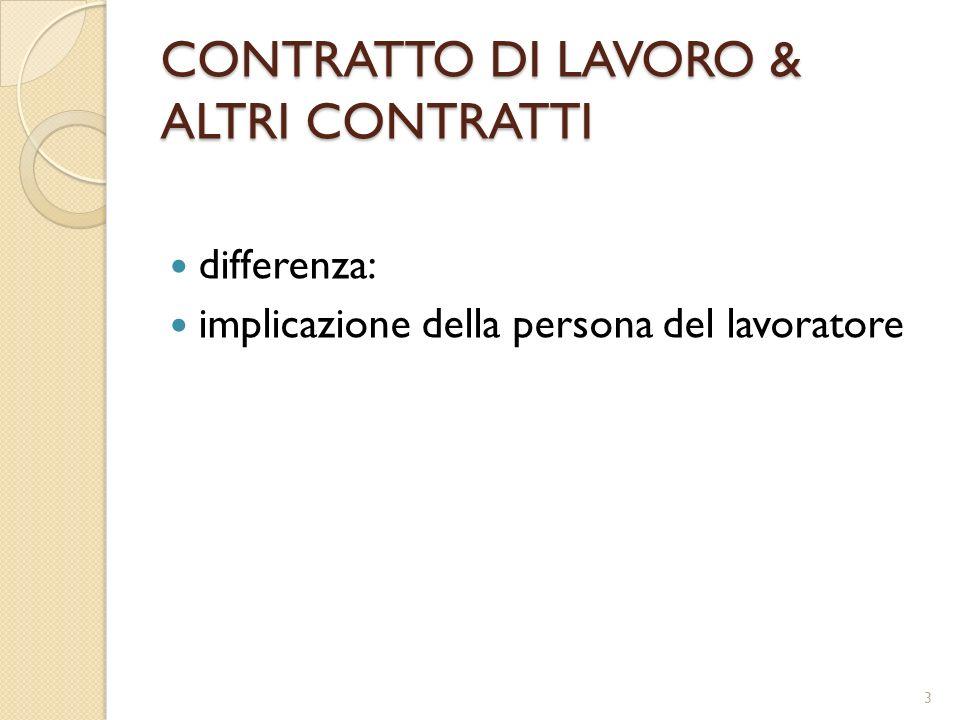 CONTRATTO DI LAVORO & ALTRI CONTRATTI differenza: implicazione della persona del lavoratore 3
