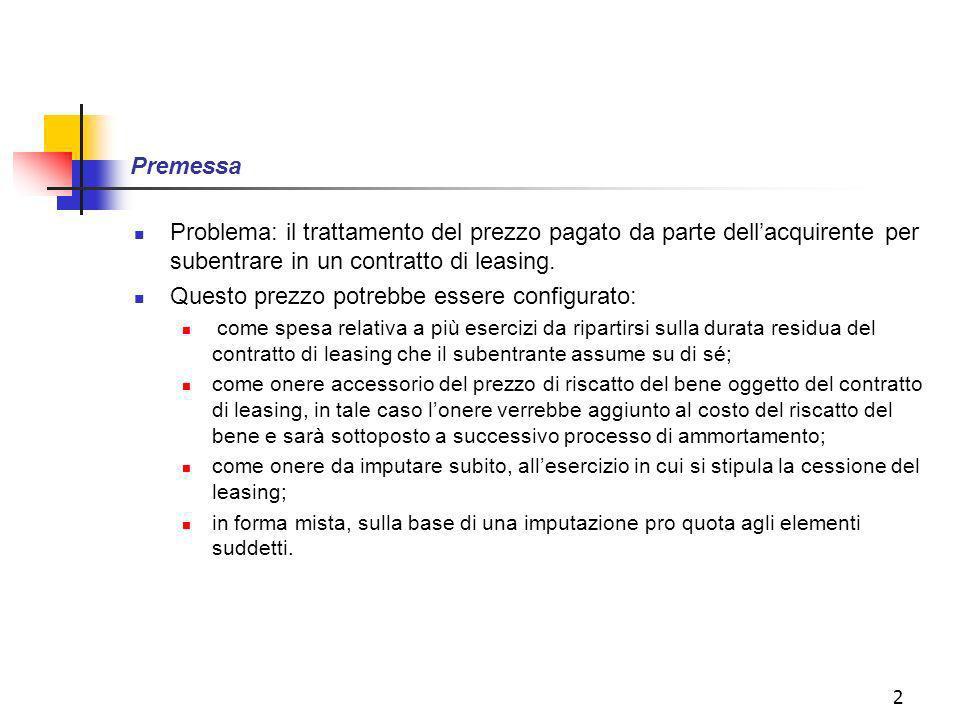 2 Premessa Problema: il trattamento del prezzo pagato da parte dellacquirente per subentrare in un contratto di leasing.
