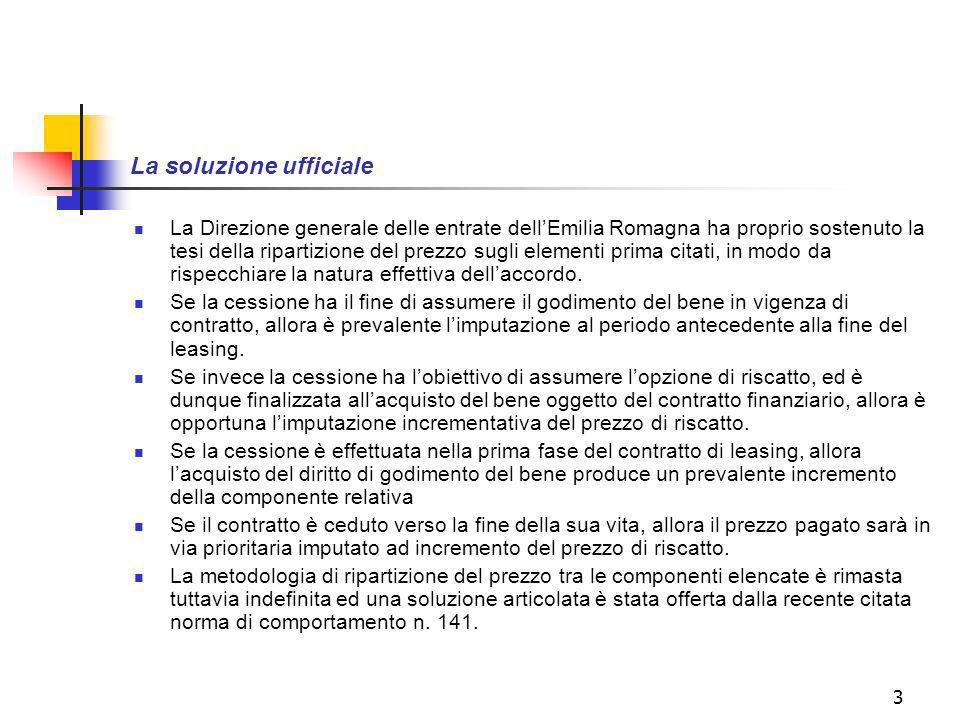 3 La soluzione ufficiale La Direzione generale delle entrate dellEmilia Romagna ha proprio sostenuto la tesi della ripartizione del prezzo sugli elementi prima citati, in modo da rispecchiare la natura effettiva dellaccordo.