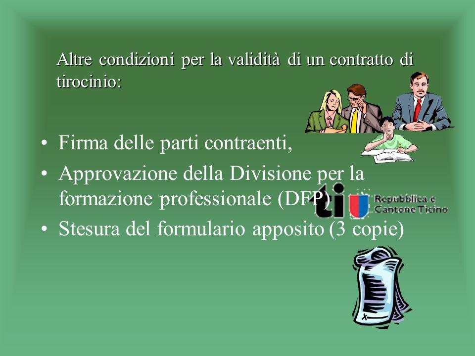 Forma e contenuto del contratto di tirocinio (art. 344a CO) Forma scritta Il contratto deve disciplinare la natura e la durata della formazione profes