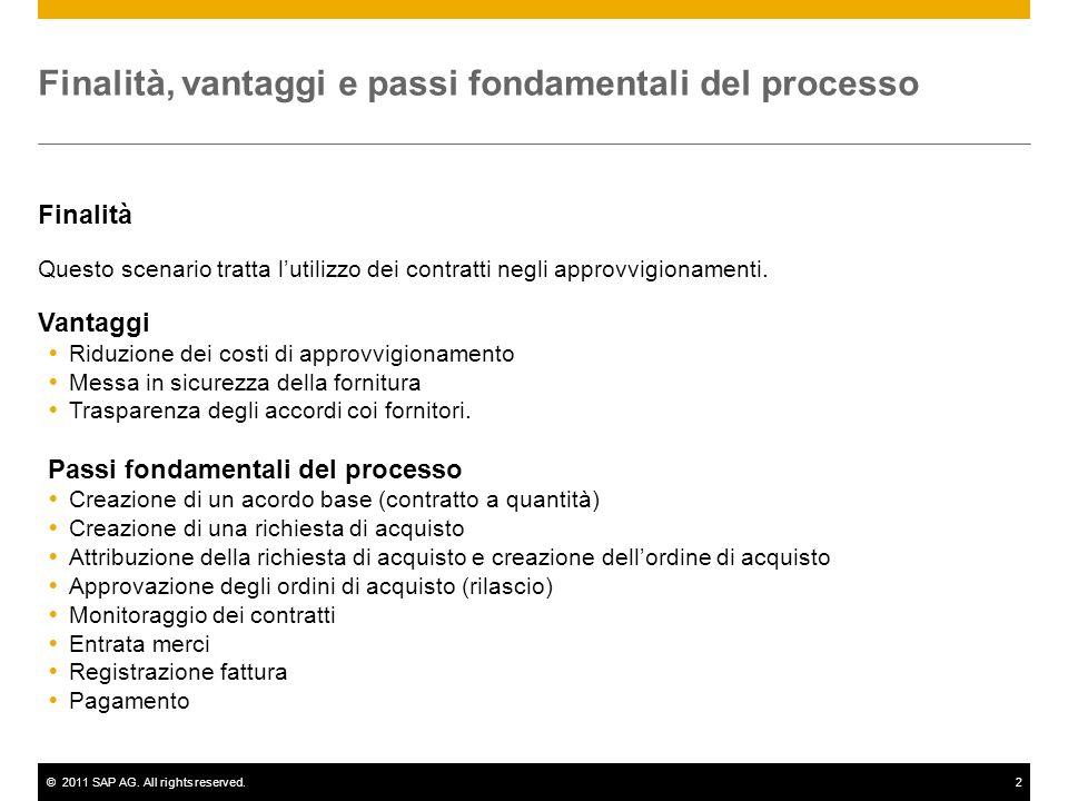 ©2011 SAP AG. All rights reserved.2 Finalità, vantaggi e passi fondamentali del processo Finalità Questo scenario tratta lutilizzo dei contratti negli