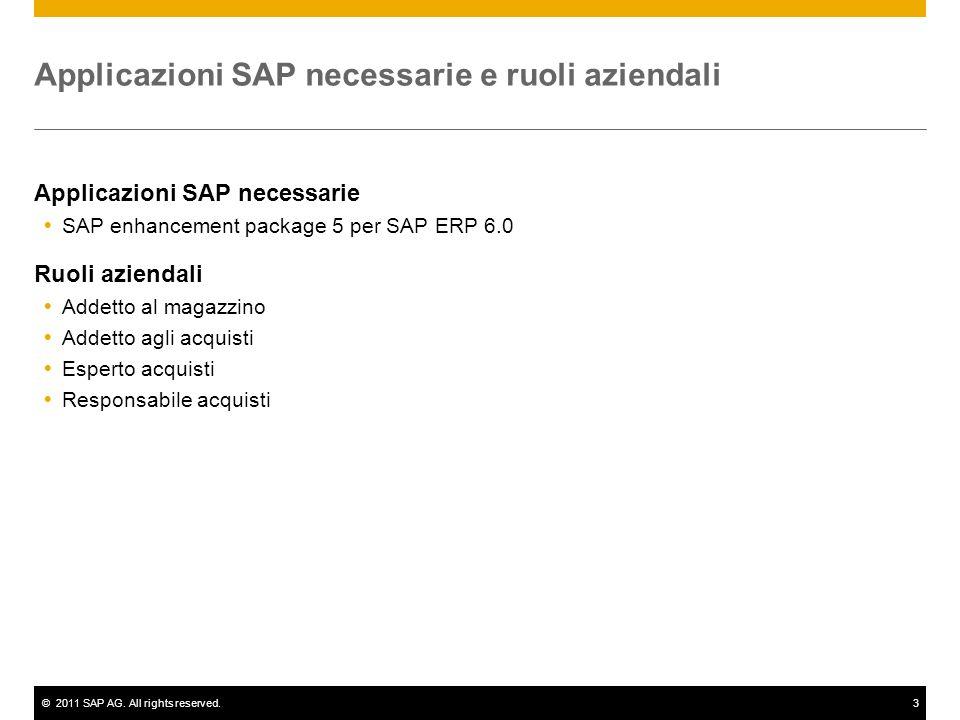 ©2011 SAP AG. All rights reserved.3 Applicazioni SAP necessarie e ruoli aziendali Applicazioni SAP necessarie SAP enhancement package 5 per SAP ERP 6.