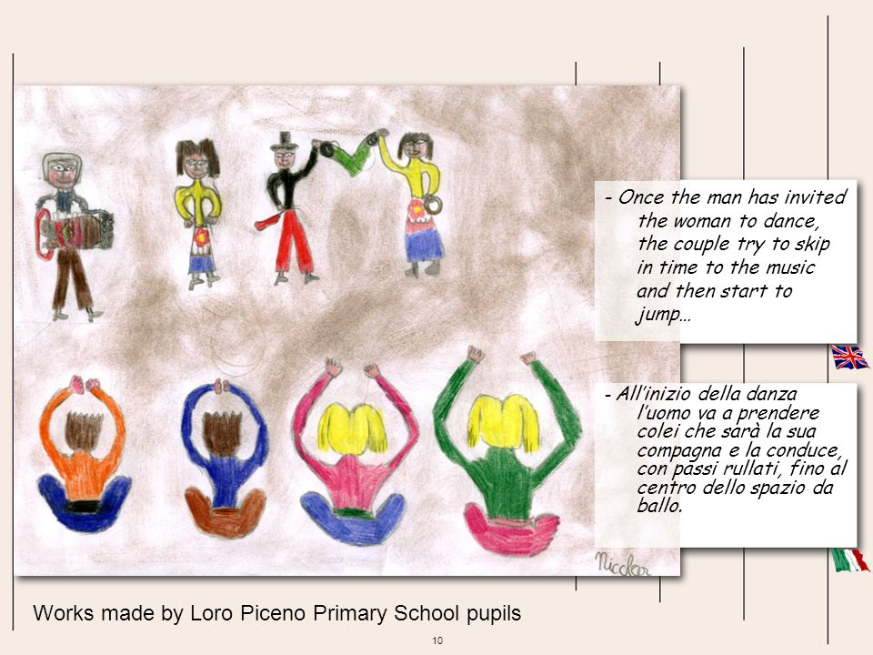 10 Works made by Loro Piceno Primary School pupils - Once the man has invited the woman to dance, the couple try to skip in time to the music and then