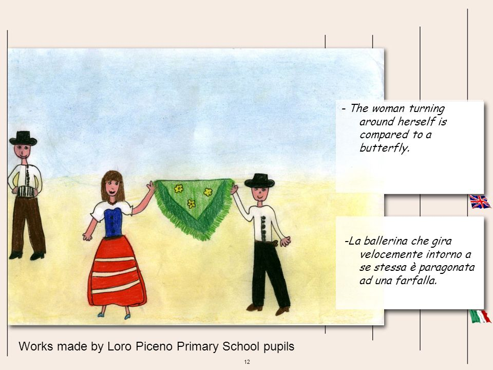 12 Works made by Loro Piceno Primary School pupils - The woman turning around herself is compared to a butterfly. -La ballerina che gira velocemente i
