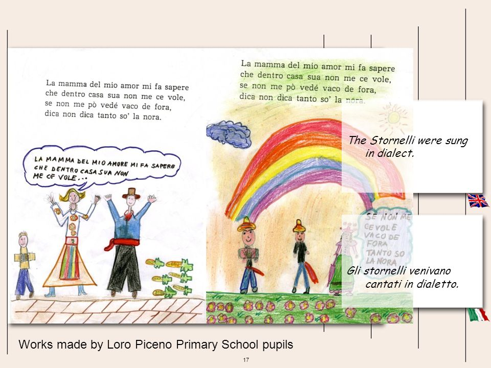 17 Works made by Loro Piceno Primary School pupils Gli stornelli venivano cantati in dialetto. The Stornelli were sung in dialect.