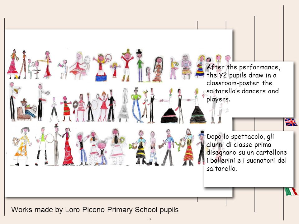 4 Works made by Loro Piceno Primary School pupils The pupils of Loro Piceno Primary School introduce you the history and meanings of saltarellos dance.