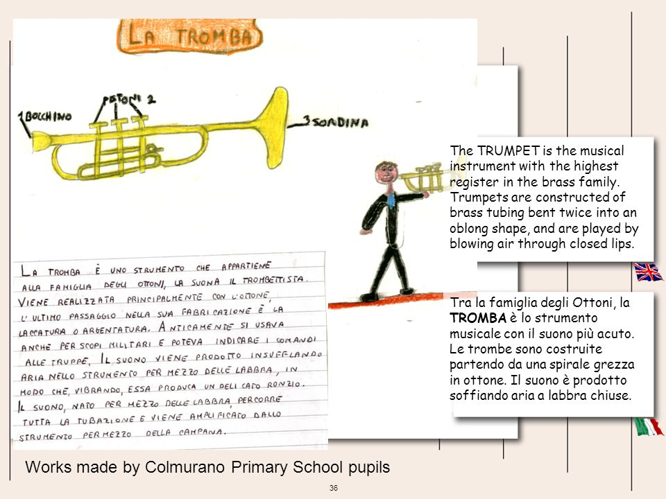 36 Works made by Colmurano Primary School pupils The TRUMPET is the musical instrument with the highest register in the brass family. Trumpets are con