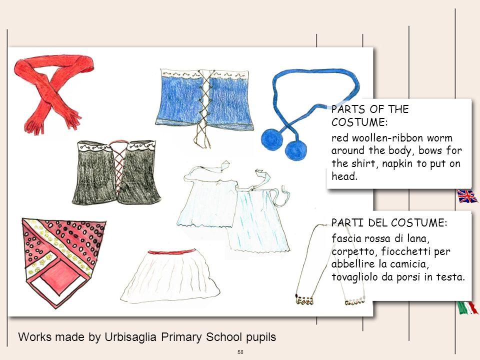 58 Works made by Urbisaglia Primary School pupils PARTI DEL COSTUME: fascia rossa di lana, corpetto, fiocchetti per abbellire la camicia, tovagliolo d