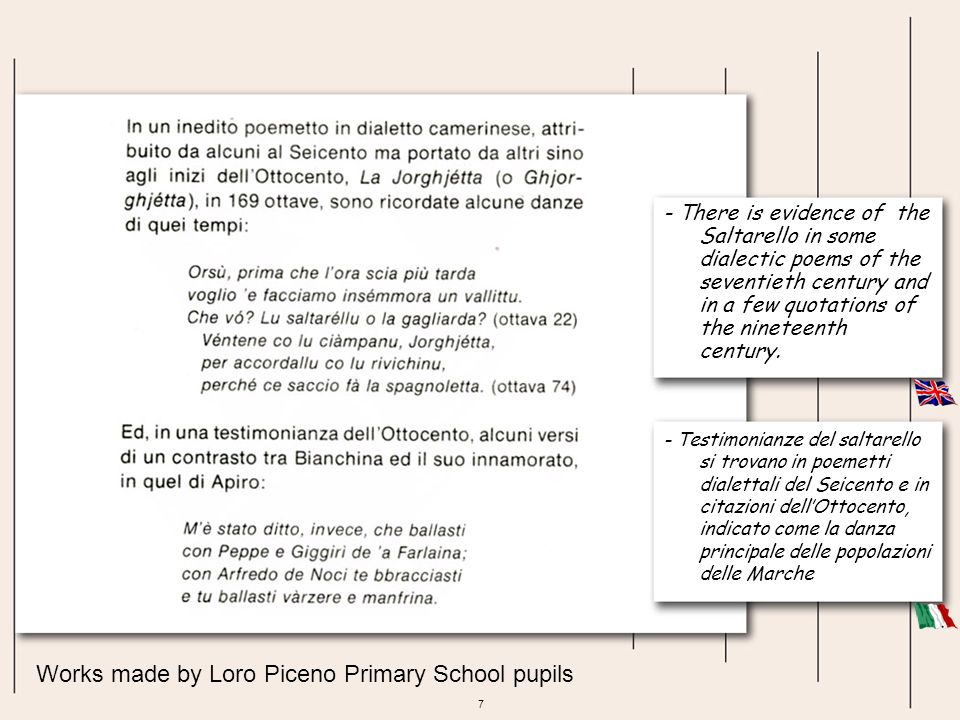 8 Works made by Loro Piceno Primary School pupils - This dance is characterized by a perfect synchrony between dancers, as the fast rhythm forces them to perform rapid and vigorous jumps.