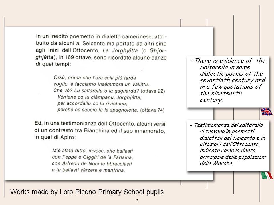 58 Works made by Urbisaglia Primary School pupils PARTI DEL COSTUME: fascia rossa di lana, corpetto, fiocchetti per abbellire la camicia, tovagliolo da porsi in testa.