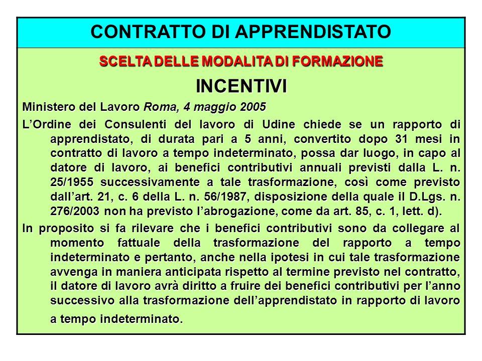 CONTRATTO DI APPRENDISTATO SCELTA DELLE MODALITA DI FORMAZIONE INCENTIVI Ministero del Lavoro Roma, 4 maggio 2005 LOrdine dei Consulenti del lavoro di