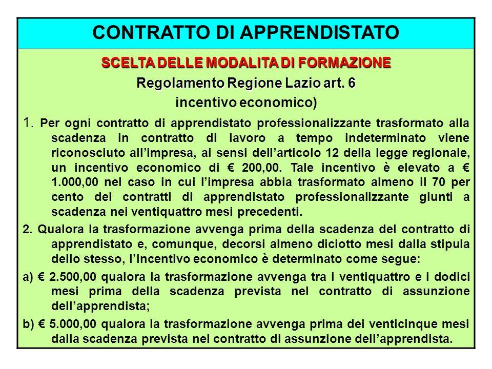 CONTRATTO DI APPRENDISTATO SCELTA DELLE MODALITA DI FORMAZIONE Regolamento Regione Lazio art. 6 incentivo economico) 1. Per ogni contratto di apprendi