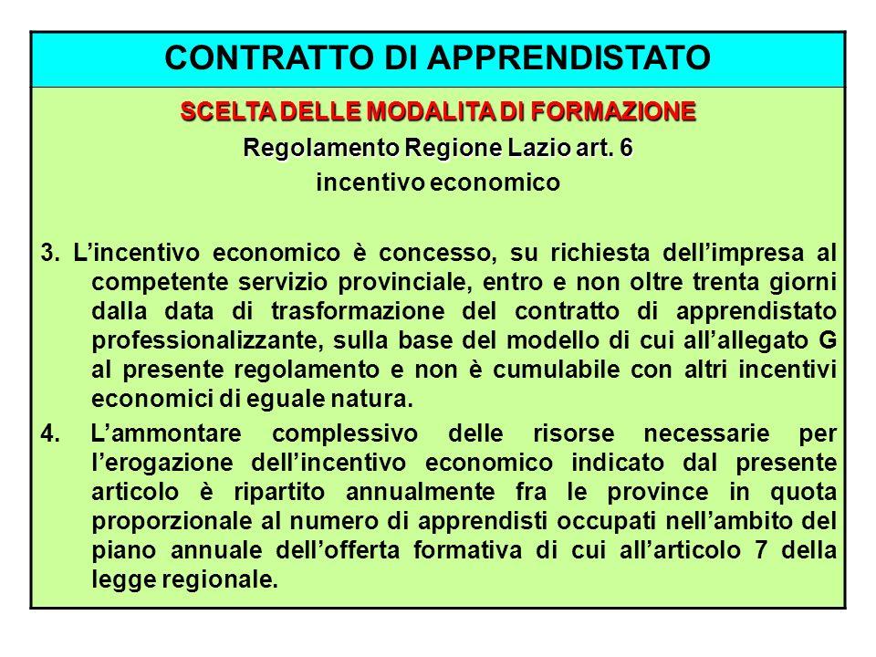 CONTRATTO DI APPRENDISTATO SCELTA DELLE MODALITA DI FORMAZIONE Regolamento Regione Lazio art. 6 incentivo economico 3. Lincentivo economico è concesso