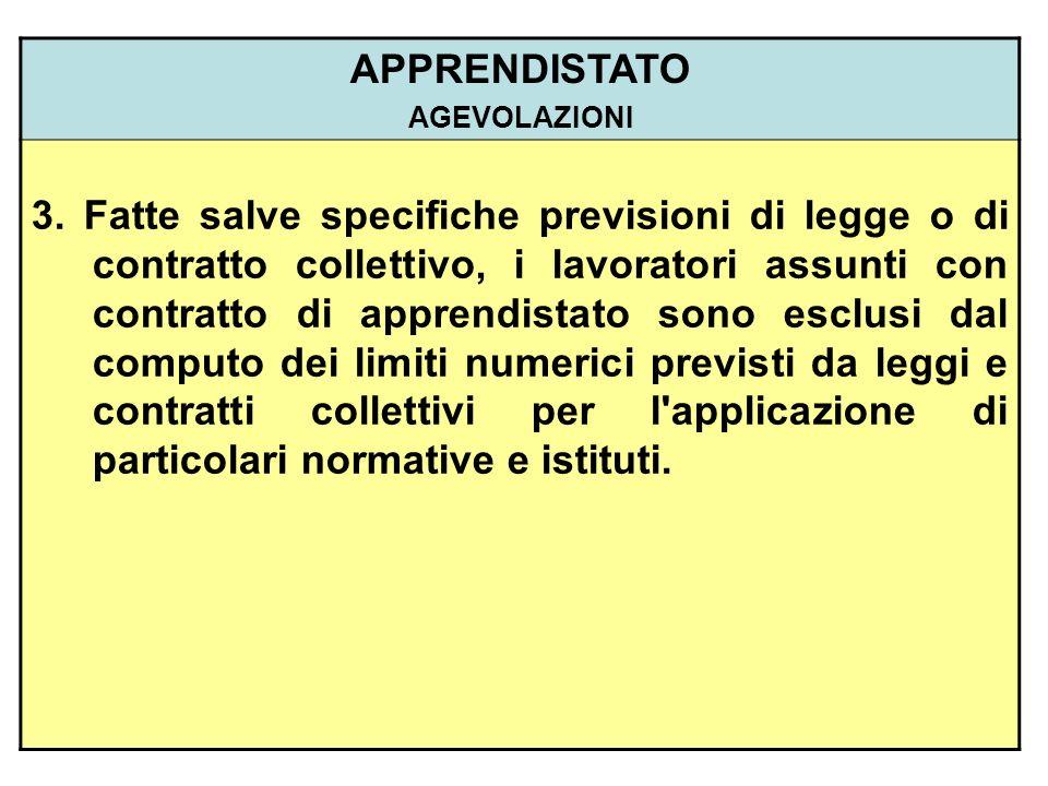 APPRENDISTATO AGEVOLAZIONI 3. Fatte salve specifiche previsioni di legge o di contratto collettivo, i lavoratori assunti con contratto di apprendistat
