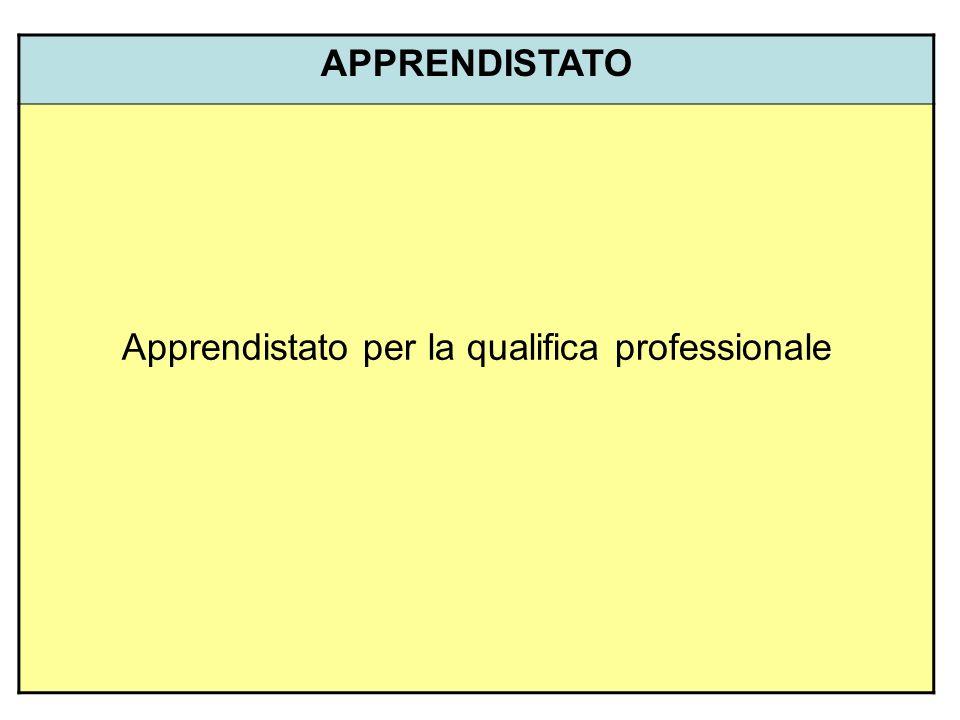 APPRENDISTATO Apprendistato per la qualifica professionale