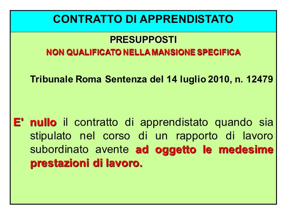CONTRATTO DI APPRENDISTATO PRESUPPOSTI NON QUALIFICATO NELLA MANSIONE SPECIFICA Tribunale Roma Sentenza del 14 luglio 2010, n. 12479 E' nullo ad ogget