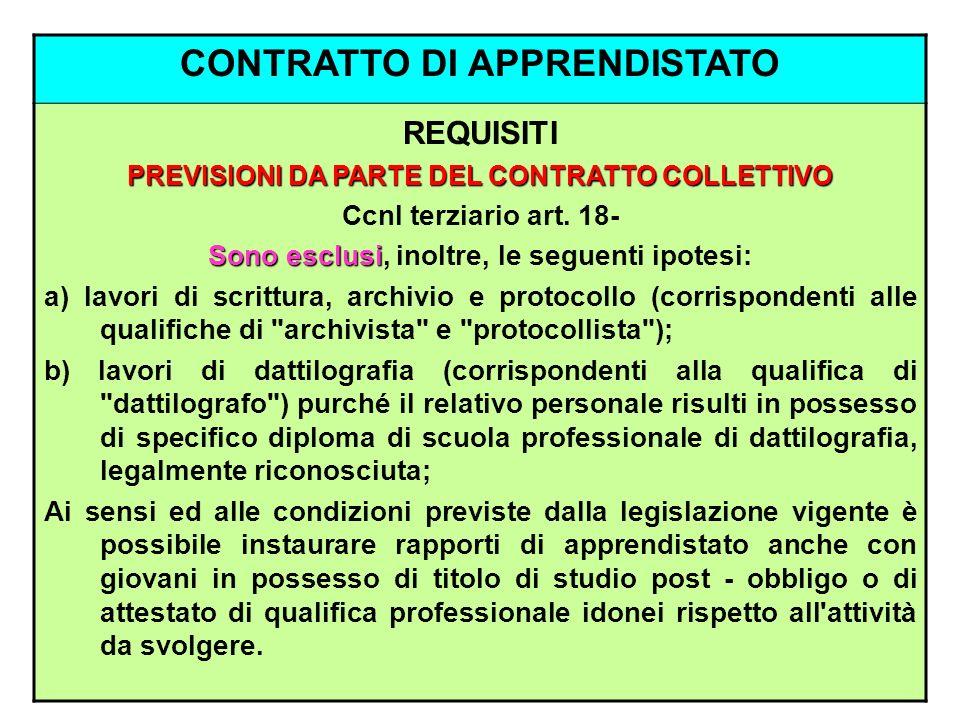 CONTRATTO DI APPRENDISTATO REQUISITI PREVISIONI DA PARTE DEL CONTRATTO COLLETTIVO Ccnl terziario art. 18- Sono esclusi Sono esclusi, inoltre, le segue