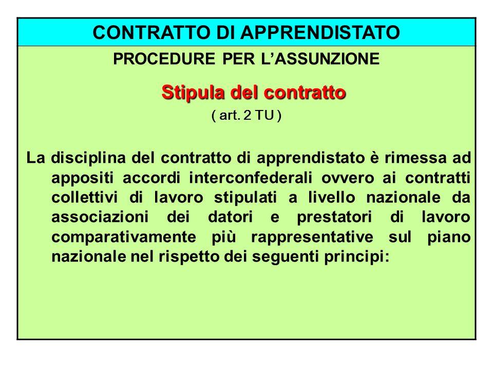 CONTRATTO DI APPRENDISTATO PROCEDURE PER LASSUNZIONE Stipula del contratto ( art. 2 TU ) La disciplina del contratto di apprendistato è rimessa ad app