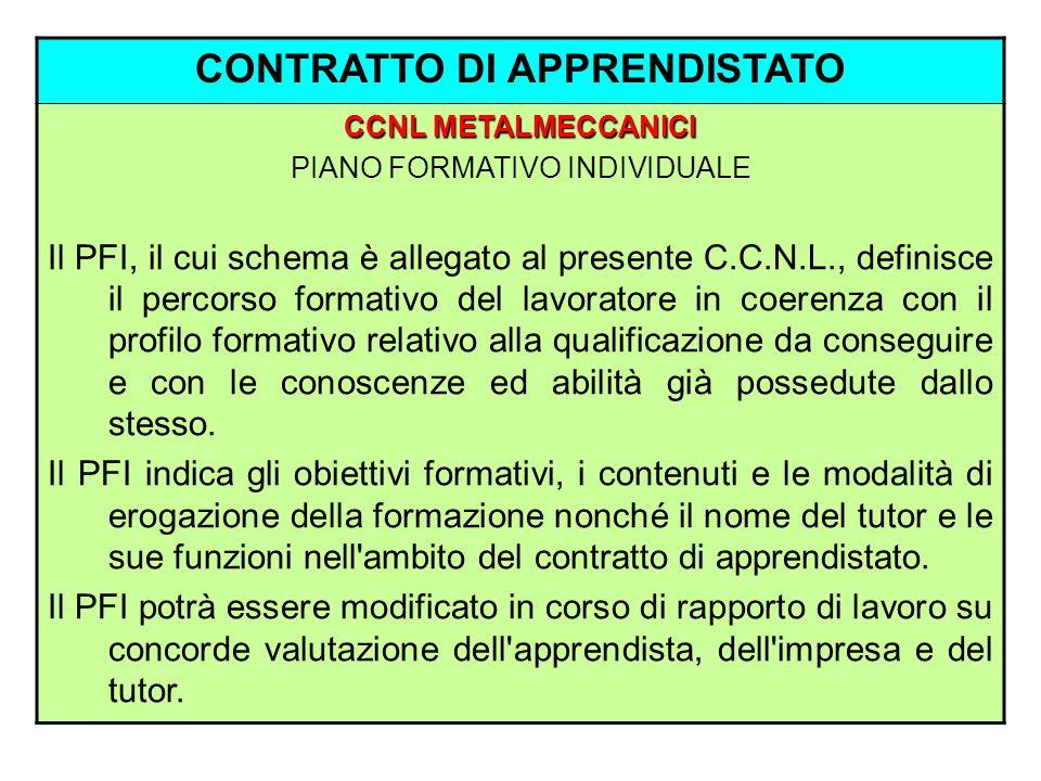 CONTRATTO DI APPRENDISTATO CCNL METALMECCANICI PIANO FORMATIVO INDIVIDUALE Il PFI, il cui schema è allegato al presente C.C.N.L., definisce il percors