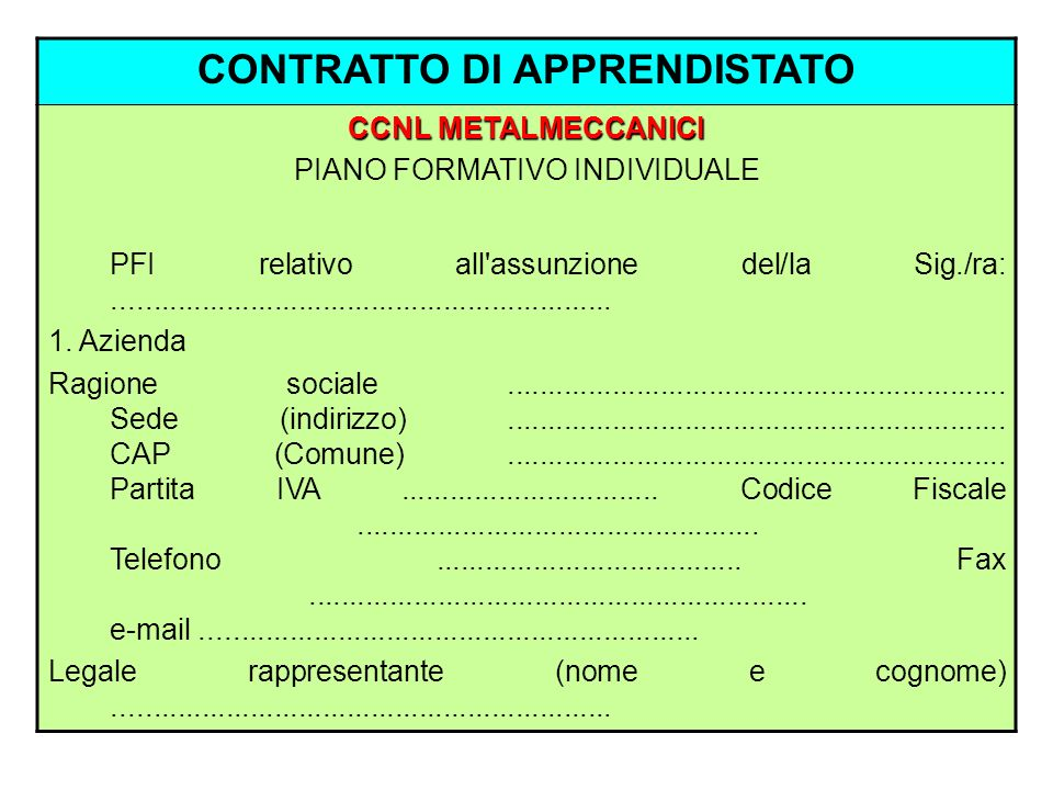 CONTRATTO DI APPRENDISTATO CCNL METALMECCANICI PIANO FORMATIVO INDIVIDUALE PFI relativo all'assunzione del/la Sig./ra:................................