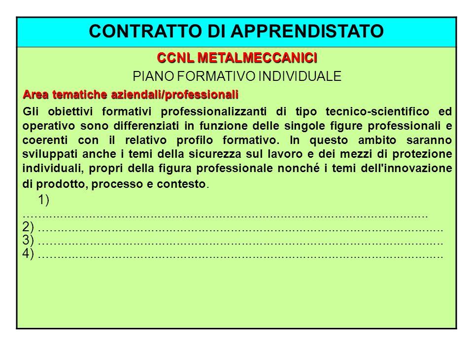 CONTRATTO DI APPRENDISTATO CCNL METALMECCANICI PIANO FORMATIVO INDIVIDUALE Area tematiche aziendali/professionali Gli obiettivi formativi professional
