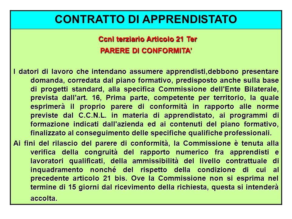 CONTRATTO DI APPRENDISTATO Ccnl terziario Articolo 21 Ter PARERE DI CONFORMITA I datori di lavoro che intendano assumere apprendisti,debbono presentar