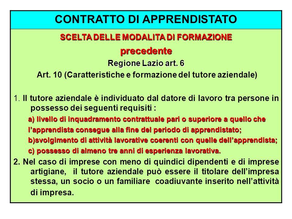 CONTRATTO DI APPRENDISTATO SCELTA DELLE MODALITA DI FORMAZIONE precedente Regione Lazio art. 6 Art. 10 (Caratteristiche e formazione del tutore aziend