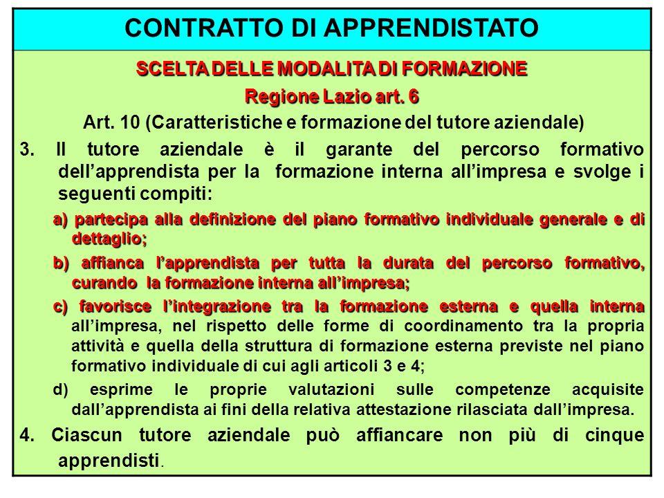 CONTRATTO DI APPRENDISTATO SCELTA DELLE MODALITA DI FORMAZIONE Regione Lazio art. 6 Art. 10 (Caratteristiche e formazione del tutore aziendale) 3. Il