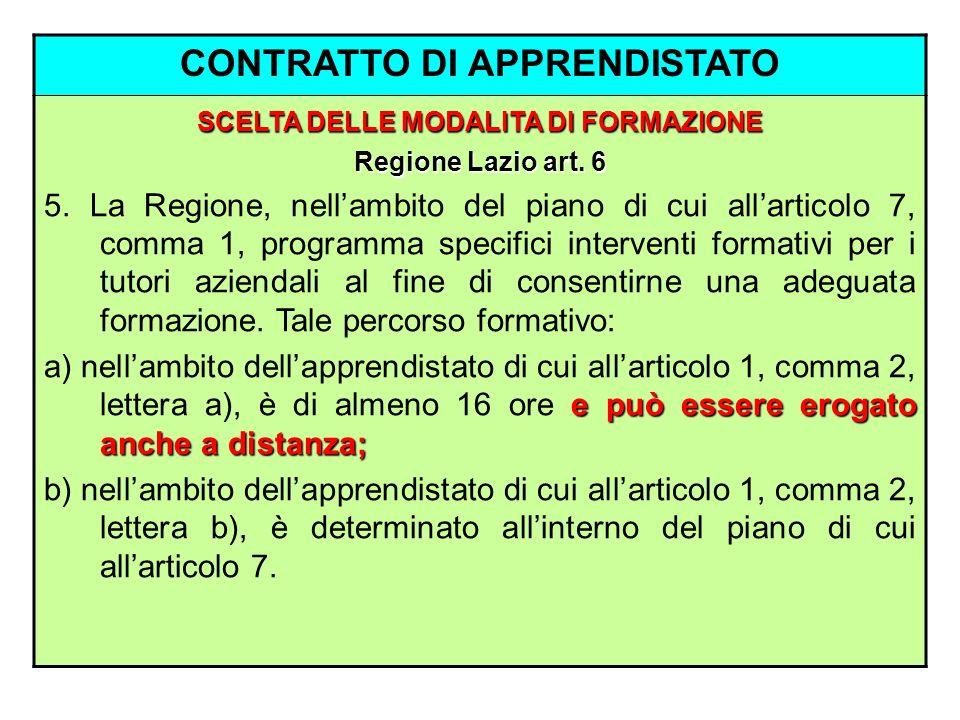 CONTRATTO DI APPRENDISTATO SCELTA DELLE MODALITA DI FORMAZIONE Regione Lazio art. 6 5. La Regione, nellambito del piano di cui allarticolo 7, comma 1,
