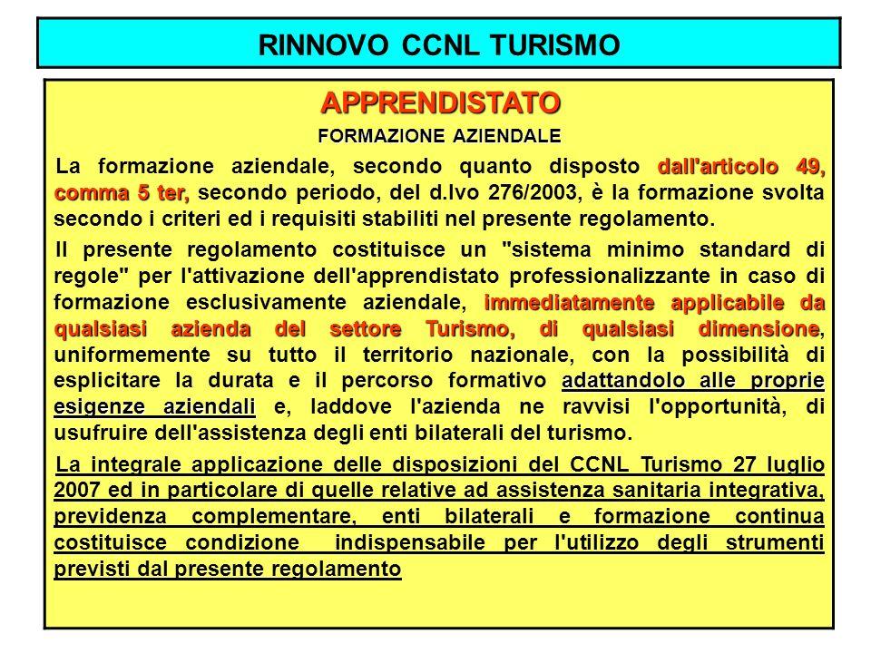 RINNOVO CCNL TURISMO APPRENDISTATO FORMAZIONE AZIENDALE dall'articolo 49, comma 5 ter, La formazione aziendale, secondo quanto disposto dall'articolo