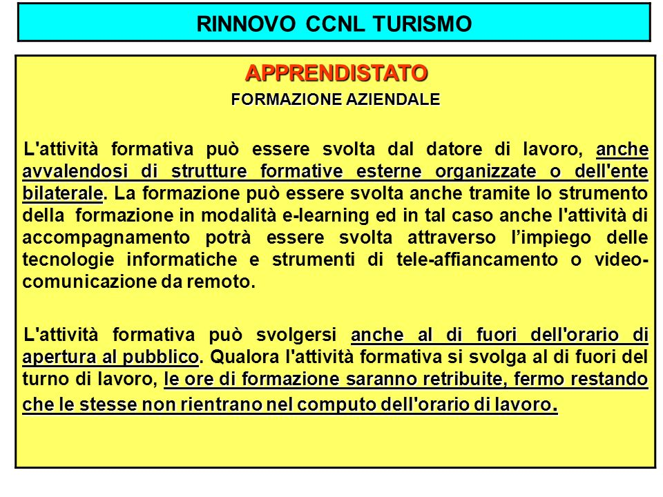 RINNOVO CCNL TURISMO APPRENDISTATO FORMAZIONE AZIENDALE anche avvalendosi di strutture formative esterne organizzate o dell'ente bilaterale L'attività