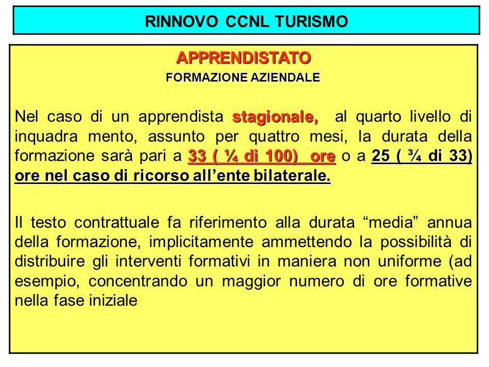 RINNOVO CCNL TURISMO APPRENDISTATO FORMAZIONE AZIENDALE stagionale, 33 ( ¼ di 100) ore25 ( ¾ di 33) ore nel caso di ricorso allente bilaterale. Nel ca