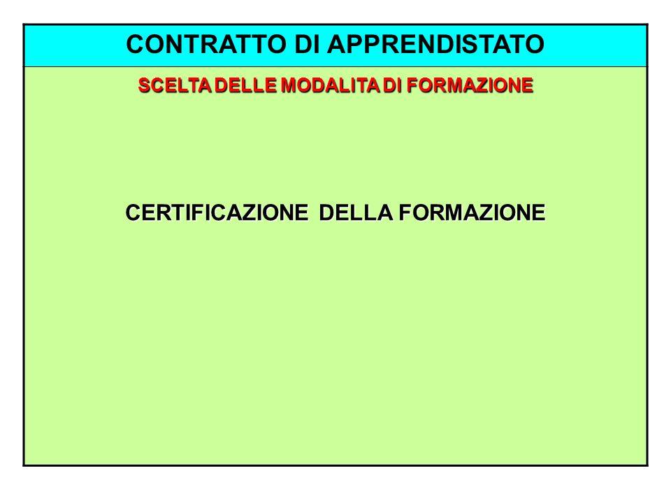 CONTRATTO DI APPRENDISTATO SCELTA DELLE MODALITA DI FORMAZIONE CERTIFICAZIONE DELLA FORMAZIONE