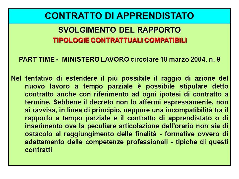 CONTRATTO DI APPRENDISTATO SVOLGIMENTO DEL RAPPORTO TIPOLOGIE CONTRATTUALI COMPATIBILI PART TIME - MINISTERO LAVORO circolare 18 marzo 2004, n. 9 Nel