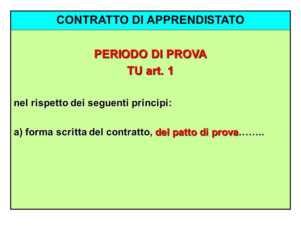 CONTRATTO DI APPRENDISTATO PERIODO DI PROVA TU art. 1 nel rispetto dei seguenti principi: a) forma scritta del contratto, del patto di prova……..