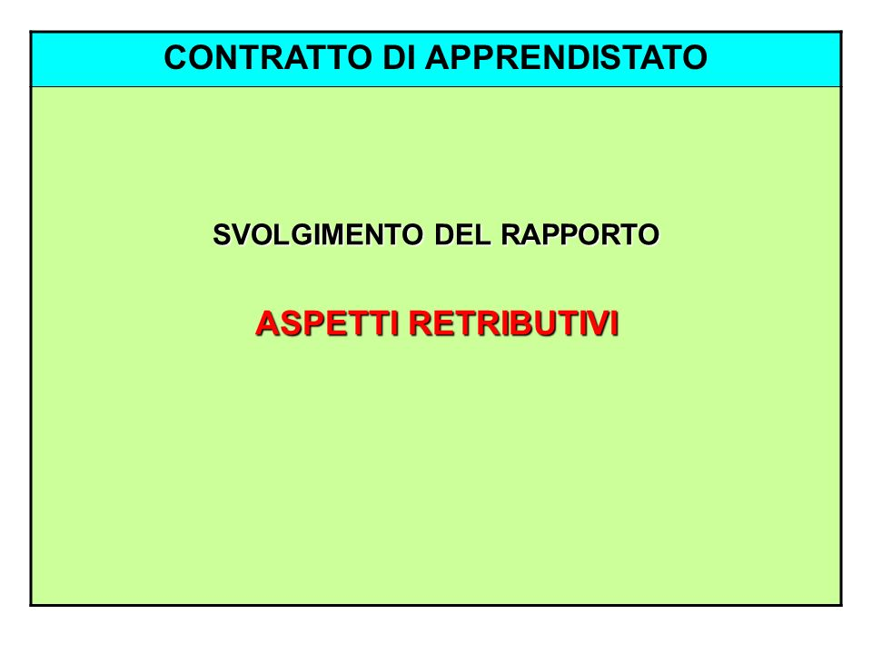 CONTRATTO DI APPRENDISTATO SVOLGIMENTO DEL RAPPORTO ASPETTI RETRIBUTIVI