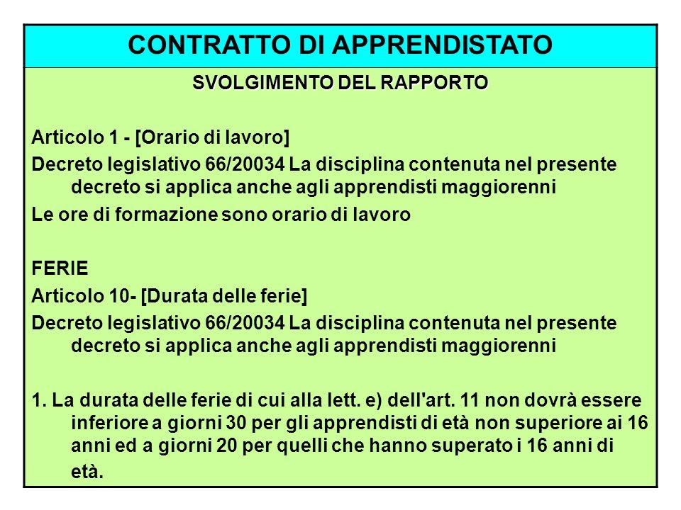 CONTRATTO DI APPRENDISTATO SVOLGIMENTO DEL RAPPORTO Articolo 1 - [Orario di lavoro] Decreto legislativo 66/20034 La disciplina contenuta nel presente