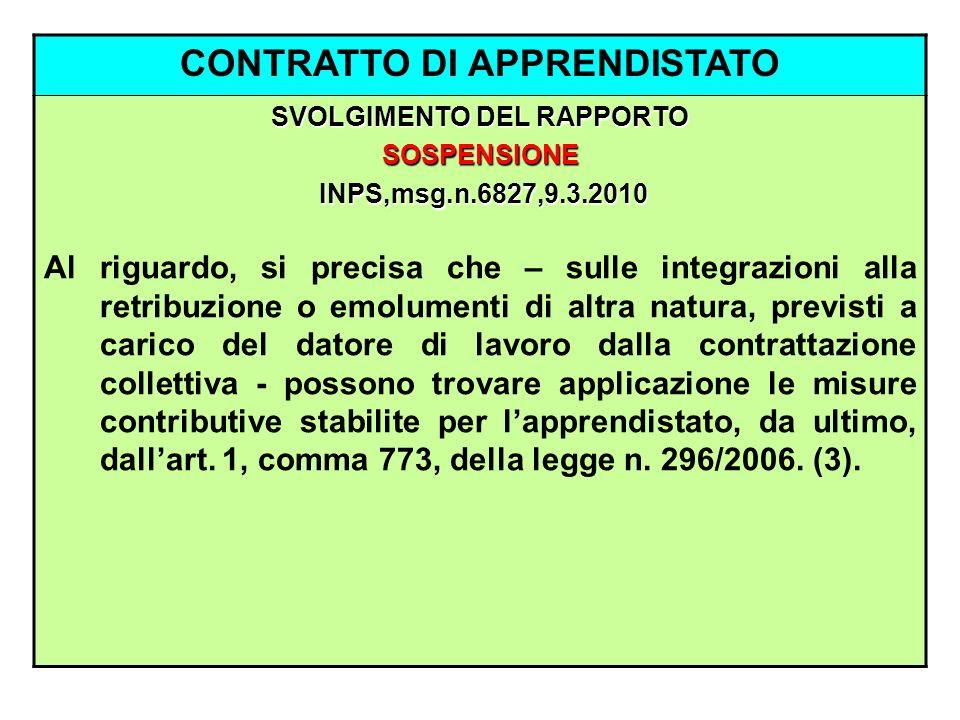 CONTRATTO DI APPRENDISTATO SVOLGIMENTO DEL RAPPORTO SOSPENSIONE INPS,msg.n.6827,9.3.2010 INPS,msg.n.6827,9.3.2010 Al riguardo, si precisa che – sulle