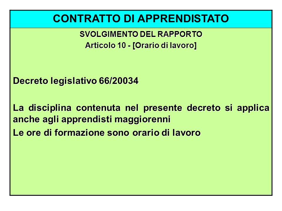 CONTRATTO DI APPRENDISTATO SVOLGIMENTO DEL RAPPORTO Articolo 10 - [Orario di lavoro] Decreto legislativo 66/20034 La disciplina contenuta nel presente