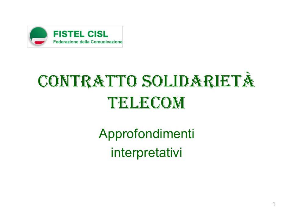 1 Contratto Solidarietà Telecom Approfondimenti interpretativi