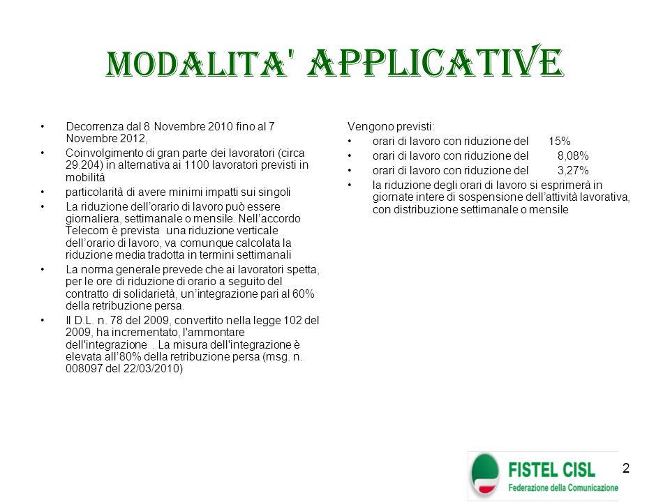 2 MODALITA ' APPLICATIVE Decorrenza dal 8 Novembre 2010 fino al 7 Novembre 2012, Coinvolgimento di gran parte dei lavoratori (circa 29.204) in alterna