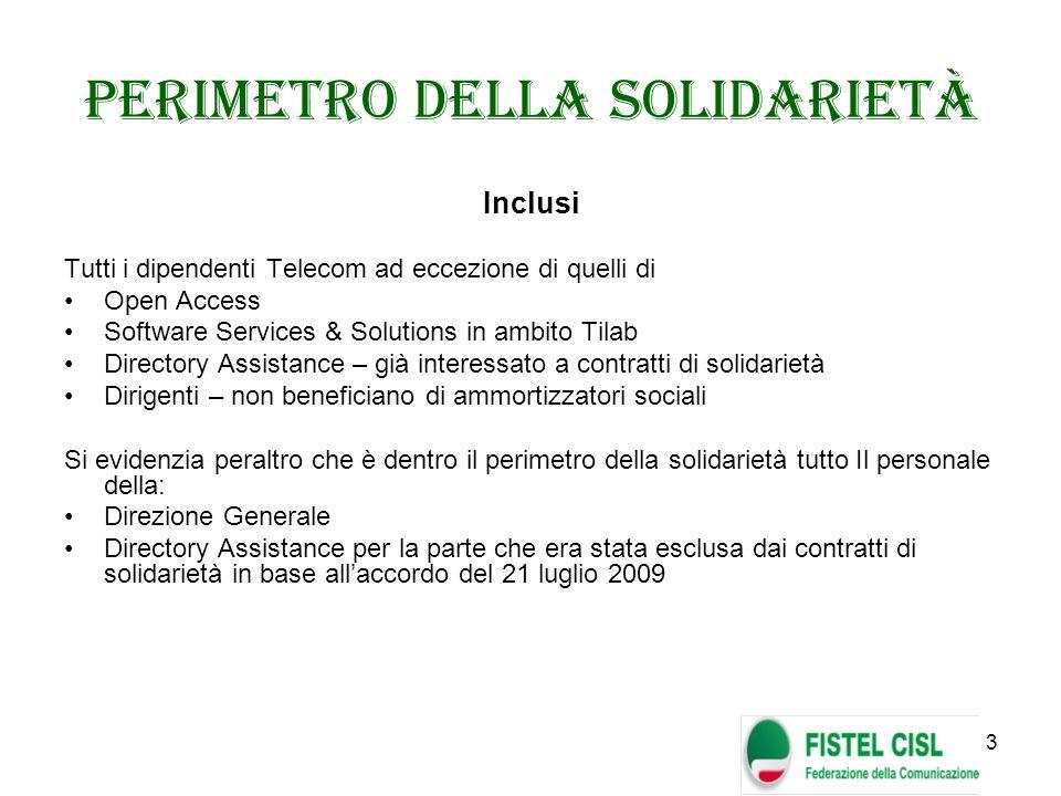 3 Perimetro della Solidarietà Inclusi Tutti i dipendenti Telecom ad eccezione di quelli di Open Access Software Services & Solutions in ambito Tilab D